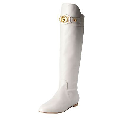 Versace Women's Leather Off White Boots Shoes Size 4.5 5.5 6 6.5 7 7.5 8.5 9 9.5
