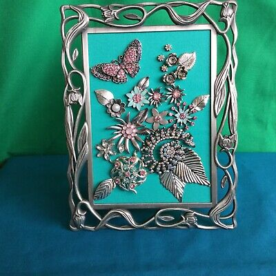 OOAK Sparkling Handmade Picture + 'Art Nouveau' Frame Recycled Jewellery Art