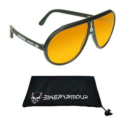 HD Vision BLUE BLOCKER Aviator Sunglasses Retro Plastic Sport S Logo Glasses (Mens Blue Aviator Sunglasses)