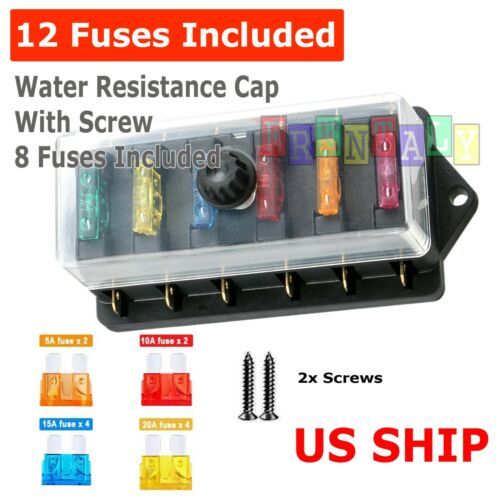 6-Way Auto Blade Fuse Holder Box Block with Waterproof for 12V 24V Car Marine