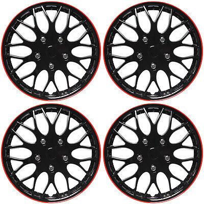 "4 Pc Set 16"" Ice Black & Red Hub Cap Full Lug Skin Rim Cover for OEM Steel Wheel"
