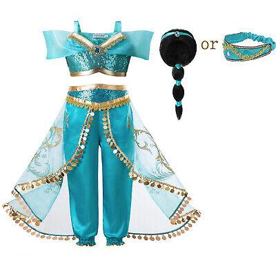 Kids Girl Jasmine Princess Fancy Dress With Wig Aladdin Cosplay Costume Sequin
