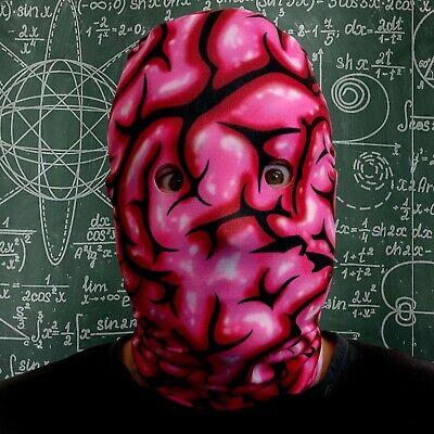 Gehirn Gesicht Design 3D Effekt Lycra Stoff Gesichtsmaske Halloween Scary - Gehirn Maske Kostüm