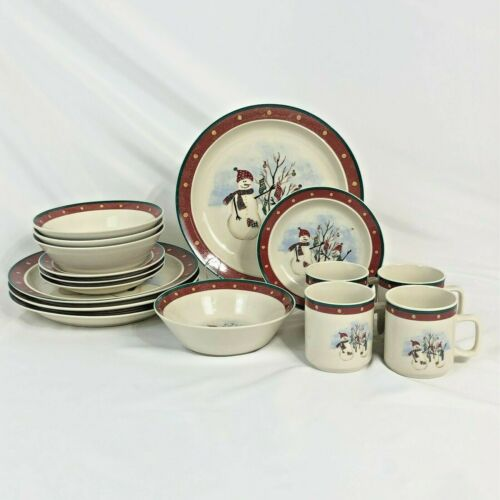 16 PC SET ROYAL SEASONS SNOWMEN 4 PLACE SETTINGS RN2 CHRISTMAS DINNER CUP BOWL