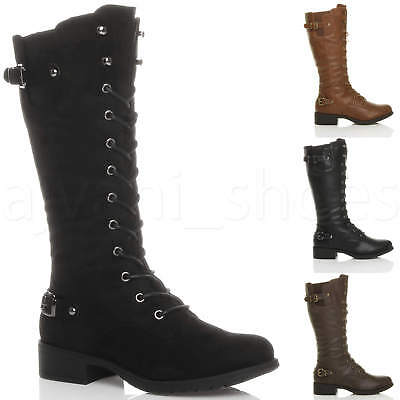 WOMENS LADIES LOW HEEL LACE UP ZIP BIKER ARMY COMBAT MILITARY CALF BOOTS SIZE Lace Up Biker Boots
