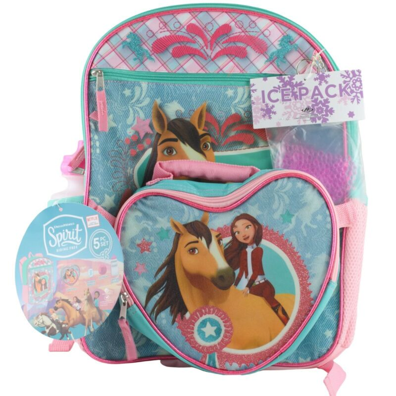 Spirit Riding Free Horse School Backpack Book & Lunch Box Bag 5 Pc Set Girls