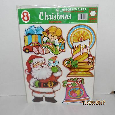 New Vintage Beistle 8 Assorted Sizes Christmas Cutouts Decorations 1981 NOS (Christmas Cutouts)