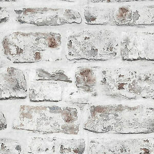 NEW ideco 18201 WHITE BRICK WALL STONE EFFECT WALLPAPER FREE PASTE INC