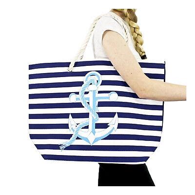 Striped Canvas Tote Shoulder Beach Bag Rope Anchor Nautical Beach Navy Blue