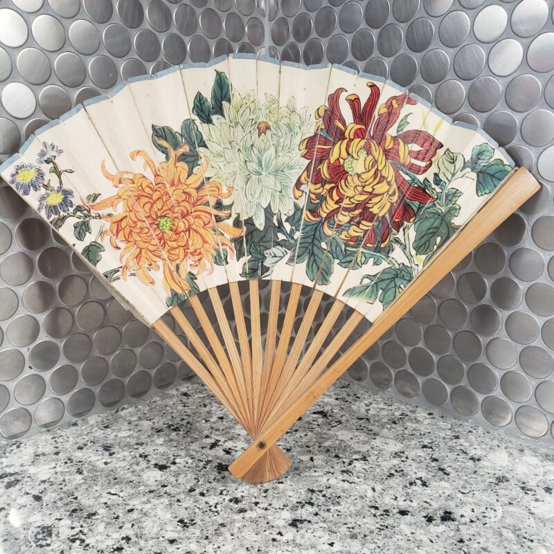 Vintage 1950s Asian Japanese Decor Folding  Wooden Large Fan 8.5 in