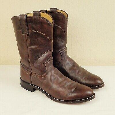 Justin Boots Size UK 7.5 US 8½ D Jackson Roper Dark Brown Leather Cowboy Western