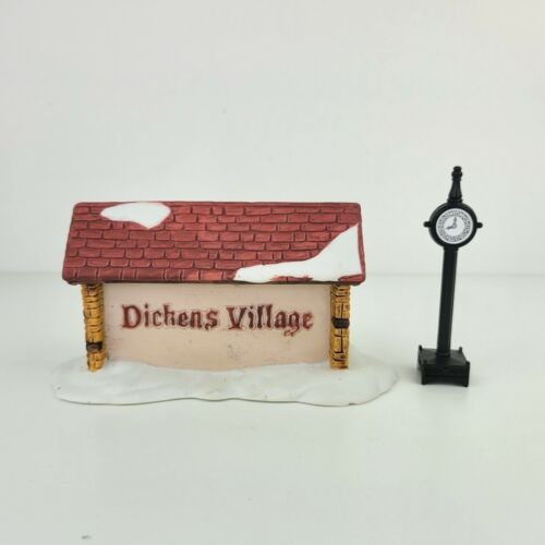 Dept 56 Heritage Village Christmas Accessory Dickens Village Sign & Metal Clock