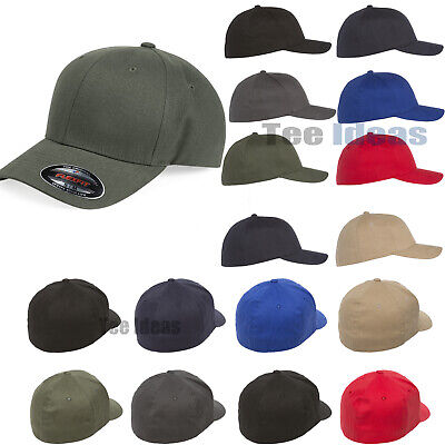 Flexfit  Adult Brushed Twill Fitted Cap Baseball Cotton/Spandex Hat - 6377 Twill-fitted Cap