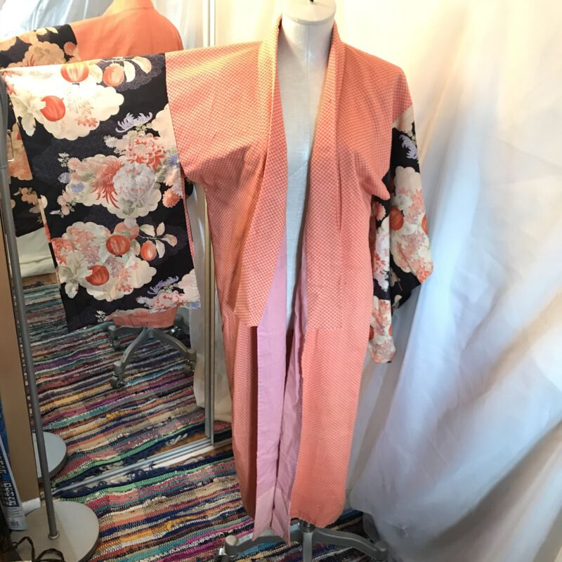 Vintage Open Sleeve Blue & Orange Japanese Kimono One Size