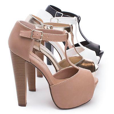 Brina21 Peep Toe T-Strap Platform Chunky Heel Dress Pumps Peep Toe T-strap Pumps