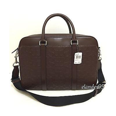 New Coach F72230 Signature Leather Slim Briefcase Crossbody Bag Mahogany