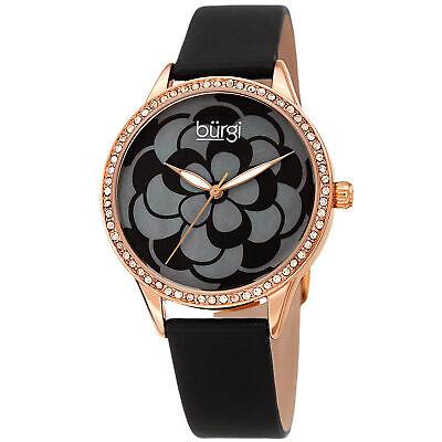 Women's Burgi BUR203BKR Swarovski Floral Rose Tone Dial Black Leather Watch