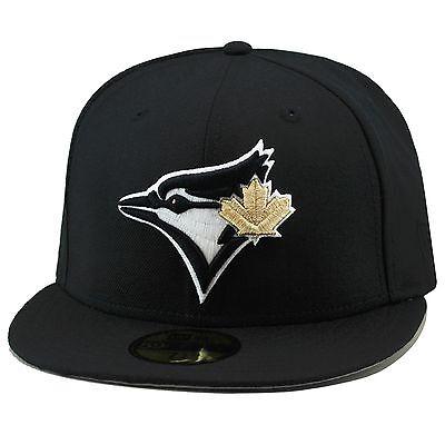 New Era Toronto Blue Jays Fitted Hat Black Gold Leaf For Jordan 4 Retro Royalty