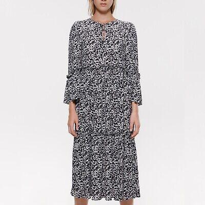 NWOT Zara Small Black & White Floral Print Ruffled Tie-Neck Crepe Midi Dress