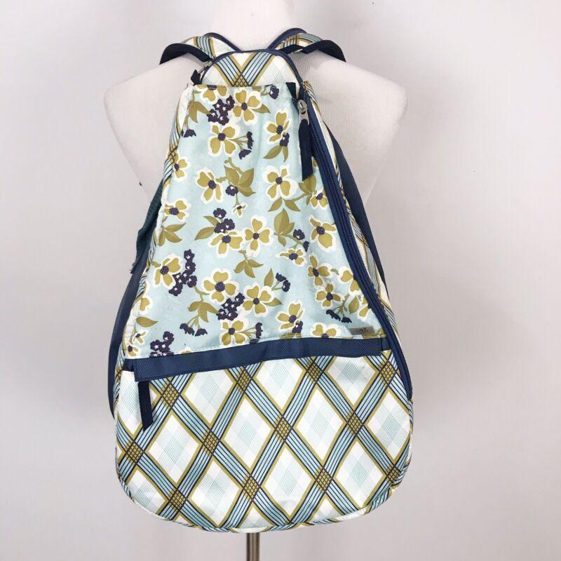 GLOVE IT Blue Floral & Plaid TENNIS BAG Backpack Crossbody