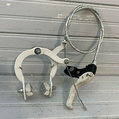 White Cruiser Bike Brake Set Lever Cable Caliper OS BMX Vintage Schwinn Bicycle
