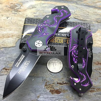 "Knife - 3.5"" TAC-FORCE Dragon Purple Small Outdoor Hunting Rescue Pocket Knife"