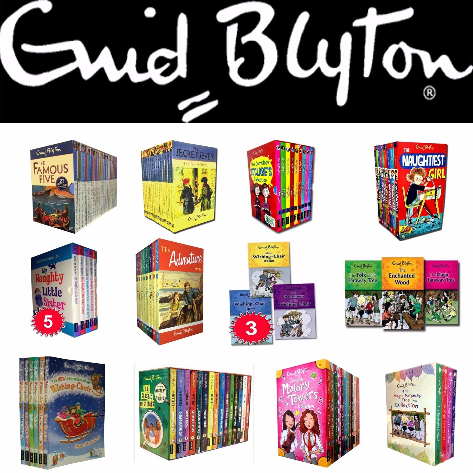 Enid Blyton Collection Books Box Set Famous Five Secret Seven Mystery Of The Vanished Prince Complete Includes