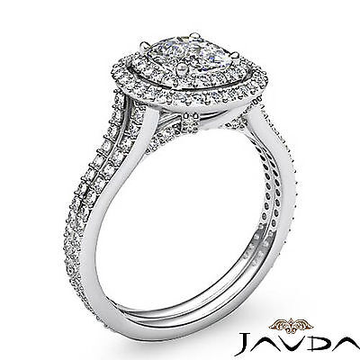 Cushion Diamond Engagement Antique Halo Ring GIA F SI1 14k White Gold 2.55 ct 1