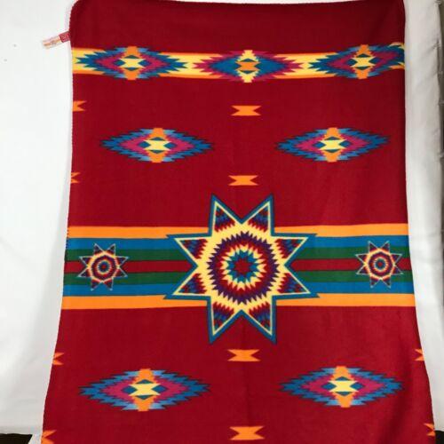 """ST. LABRE INDIAN SCHOOL Throw Blanket Aztec Red Fleece 38"""" x 58"""""""