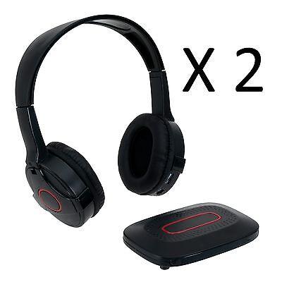 2x ONN Wireless Headphones with Transmitter - WiFi Radio Headphones - Lot of 2