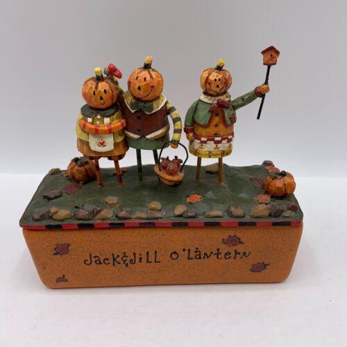 2005 Jack & Jill O Lantern Halloween Decoration Candle Orange Pumpkin