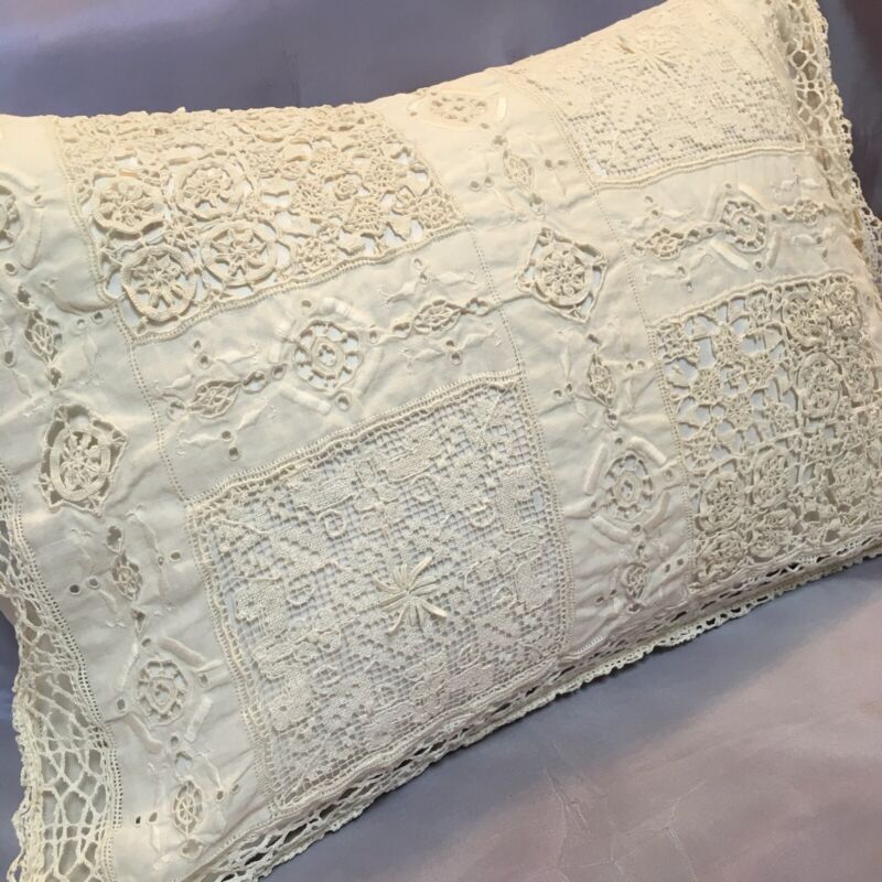 """Lovely Antique Lace Pillow Cover Boudoir Bridal Wedding Filet Embroidery 18.5"""""""