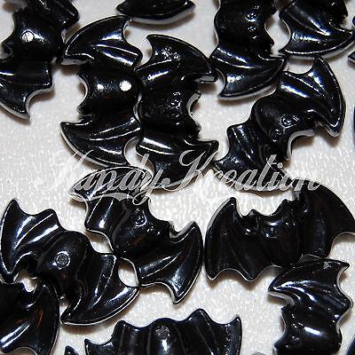 10 Bat shaped black pony beads for Halloween Kid Craft Kandi Rave Raver Gothic