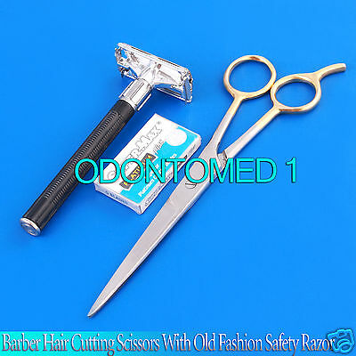 "Barber Hair Cutting Scissor 7.5"" Size With Old Fashion Safety Razor Set Kit New for sale  Shipping to India"