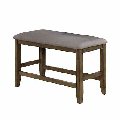 Benjara Counter Height Wooden Bench with Fabric Upholstered