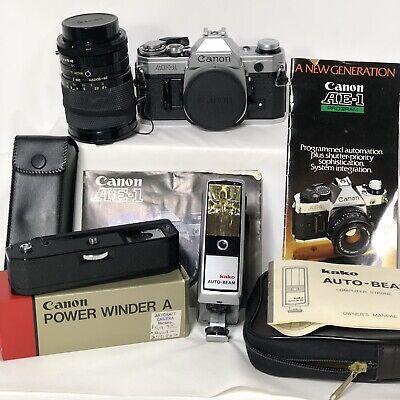 Canon AE-1 Program 35mm Film Camera 28-80mm Soligor Lens Power Winder Kako Beam
