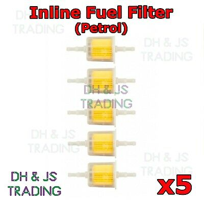 5x Inline Fuel Filter Small Universal Fit 6mm & 8mm Pipes - Petrol Fuel Filters