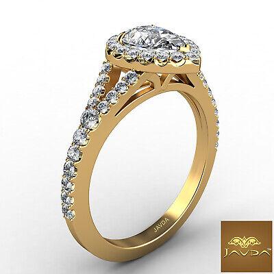 Halo Split Shank Womens Pear Diamond Engagement French U Pave Ring GIA G VS2 1Ct 2