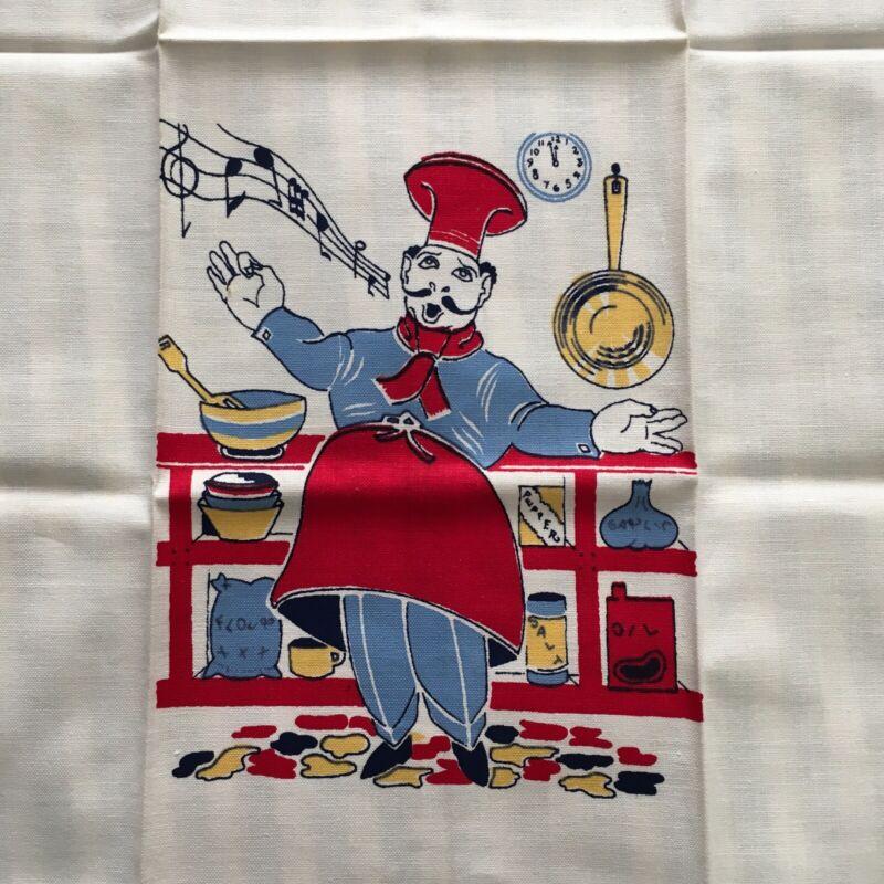 Vintage Kitchen Tea Towel Italian Chef Unused novelty
