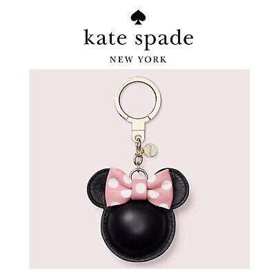 NWT Kate Spade x MINNIE MOUSE Pink Bow With Black Leather Bag Charm/  Key Chain