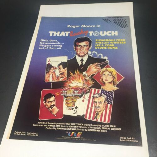 """Vintage 1986 Print AD Video Advert Roger Moore James Bond THAT LUCKY TOUCH 11"""""""