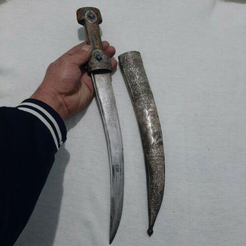 ANTIQUE OTTOMAN SWORD 19.c SILVER inlaid  SABRE khanjar Dagger  STAMPED