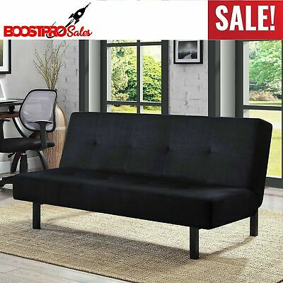 FUTON SOFA BED with MATTRESS Black Plush Microfiber Upholstery Couch Sleeper Plush Microfiber Sofa