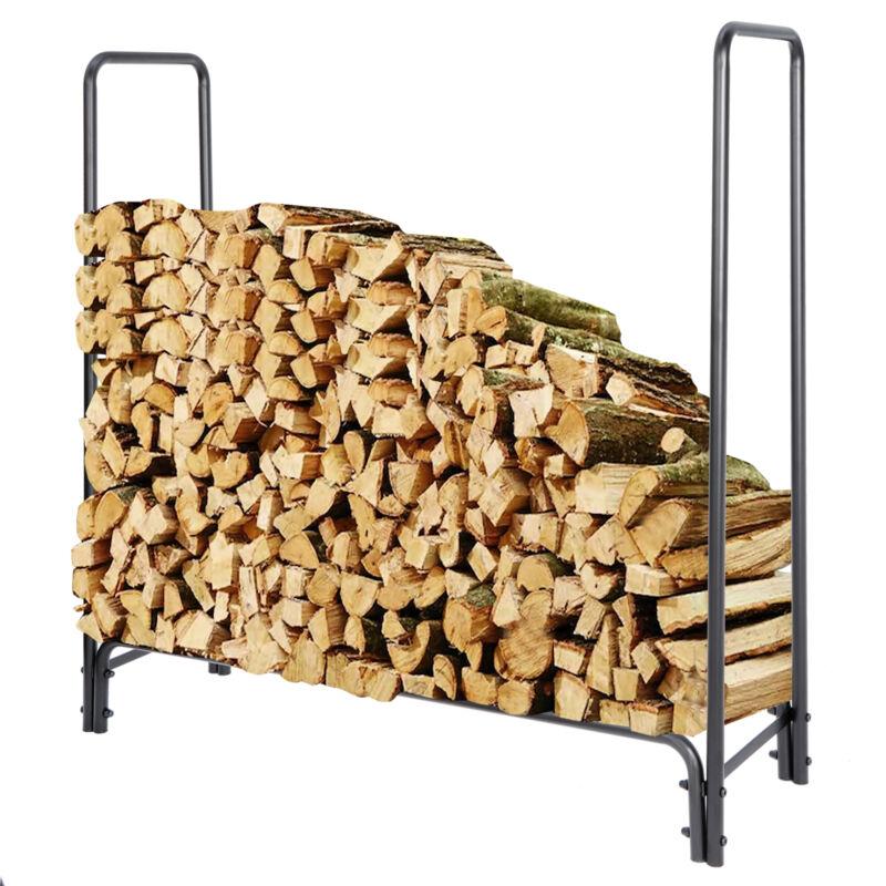4ft Firewood Rack Log Holder for Fireplace Wood Storage Holder Outdoor Backyard