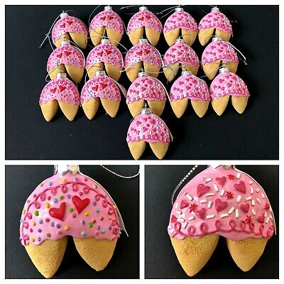 Bulk Fortune Cookies (Fortune Cookie Christmas Ornaments 16 Pc Lot Pink Frosting Heart Quotes)