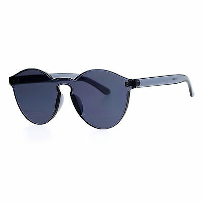 Rimless Flat Lens Sunglasses One Thick Translucent Round Lens (Translucent Round Sunglasses)