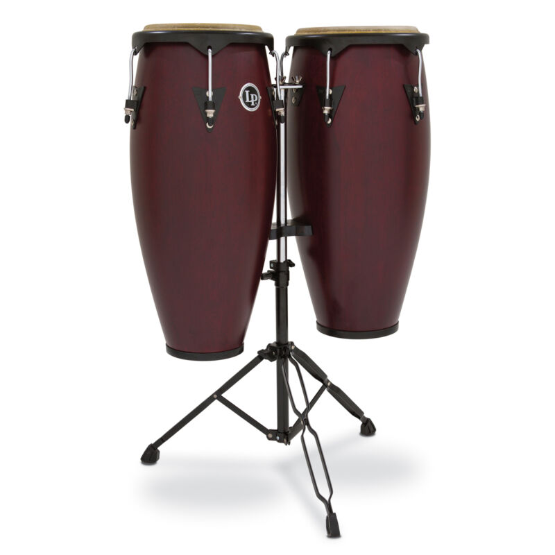 "Latin Percussion LP City Series 10""/11"" Conga Set with Double Stand Dark Wood"
