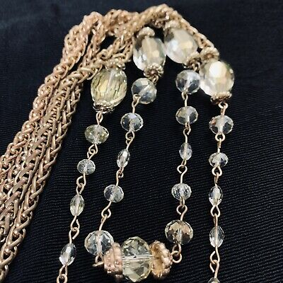 - Vtg Stunning Estate Citrine AB Cut Crystal Chain Necklace Double Strand Long 32""