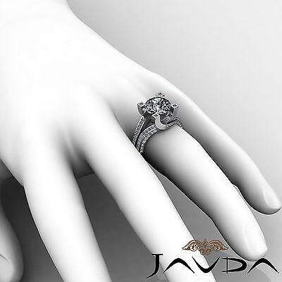 Trellis Style Split Shank Round Cut Diamond Engagement Pave Ring GIA I VS2 2.5Ct 5