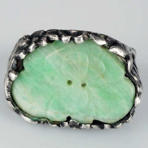 Chinese Silver Ring Inset Antique Apple Green Jade Button